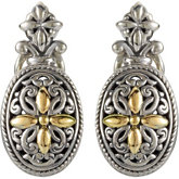 Filigree Design Omega Clip Earrings with 18KY Accents