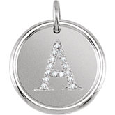 Posh Mommy® Initial Roxy Pendant with Diamonds