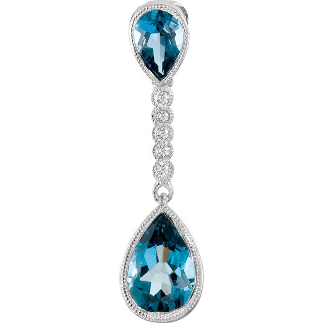 Pear Shaped London Blue Topaz and Diamond Pendant
