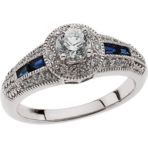Sapphire & Diamond Engagement Ring, Semi-Mount or Band
