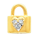 Padlock with Heart Design Brooch Mounting