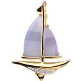 Genuine Blue Chalcedony & Diamond Sailboat Brooch / Pendant