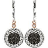 1/3 ct tw Black & White Diamond Lever Back Earrings