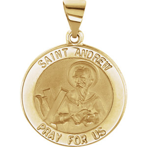 14kt Yellow 18.5mm Round Hollow St. Andrew Medal