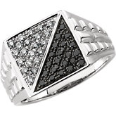 1/2 ct tw Gent's Black & White Diamond Ring