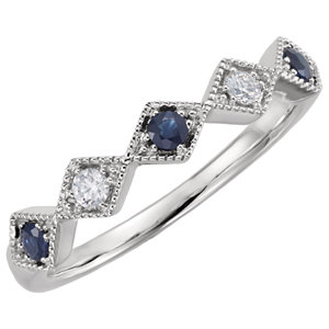 Bllue Sapphire & Diamond Anniversary Band