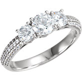 Diamond 3-Stone Semi-mount Engagement Ring or Pave' Band