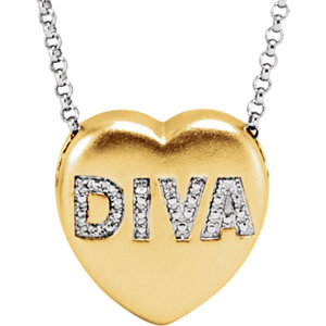 ".01 CTW Diamond ""Diva"" Heart Necklace"