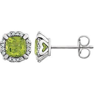 14kt White Peridot & 1/1 <br> ATW Diamond Earrings