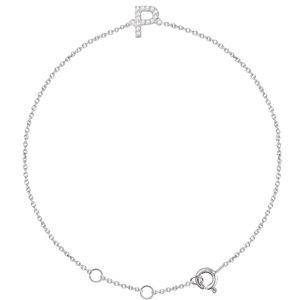 "14K White .05 CTW Diamond Initial ""P"" 6-7"" Bracelet"