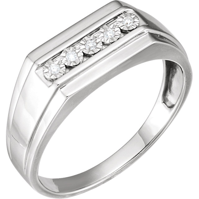 Sterling Silver Men-s .01 CTW Diamond Band Size 11