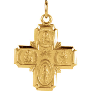 14kt Yellow 18x18mm Four-Way Cross Medal