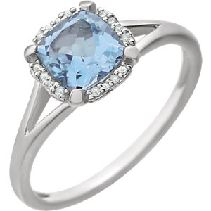 14kt White Sky Blue Topaz<br> & . 5 ATW Diamond Ring