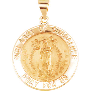 14kt Yellow 22mm Round Hollow Our Lady of Guadalupe Medal