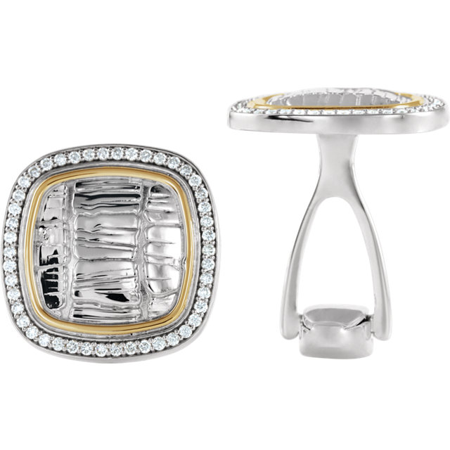 Sterling Silver & 14K Yellow 1/2 CTW Diamond Cuff Links