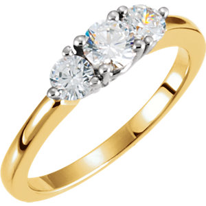 Two-Tone Diamond 3-Stone Anniversary Ring