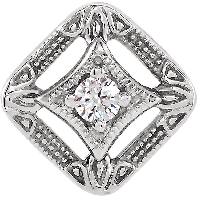 14K White .04 CTW Diamond Pendant