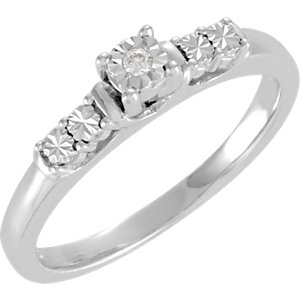Sterling Silver .02 CT Diamond Illusion Engagement Ring Size 7
