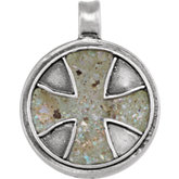 Maltese Cross Pendant with Ancient Roman Glass
