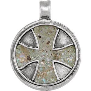 Maltese Cross Pendant with Ancient Roman Glass