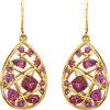 35.6x16.1mm Rhodolite Garnet Nest Design Dangle Earrings Ref 85697