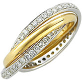Diamond Two-Tone Three Band Rolling Rings