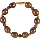 Freshwater Dyed Chocolate Cultured Pearl & Smoky Quartz Bracelet