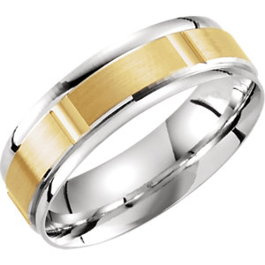 Two-Tone 6.5mm Lightweight Grooved Band