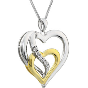 Two-Tone Diamond Heart Necklace