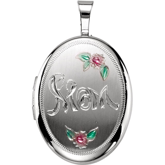 Sterling Silver Oval Mom Locket with Color