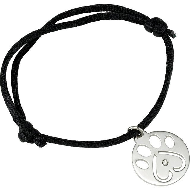 Sterling Silver .02 CTW Diamond Dog Paw Black Cord 6.5-8