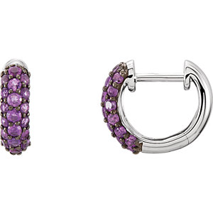 Diamond or Gemstone Pave Hoop Earrings