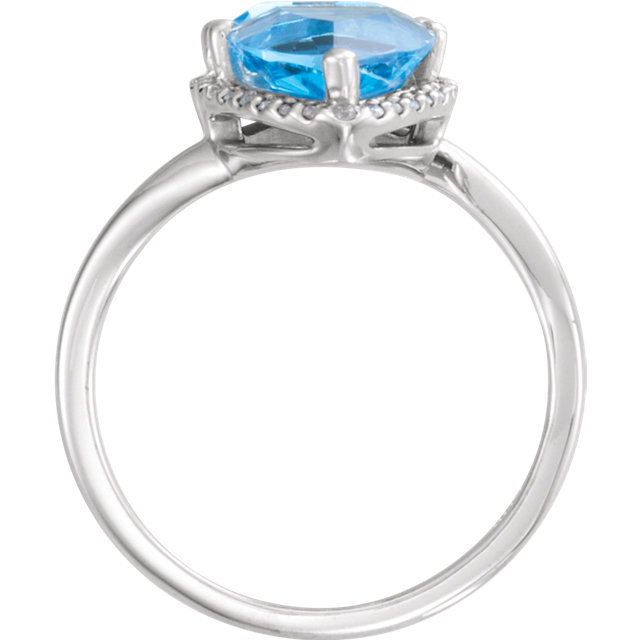 14K White Swiss Blue Topaz & 1/5 CTW Diamond Ring
