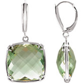 Genuine Green Quartz Lever Back Earrings