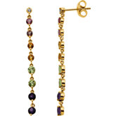 Genuine Multicolor Gemstone & Diamond Earrings