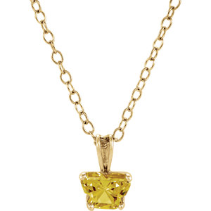 "10K Yellow November Birthstone 14"" Necklace"