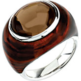 Genuine Smoky Quartz Ring with Tiger Print Enamel