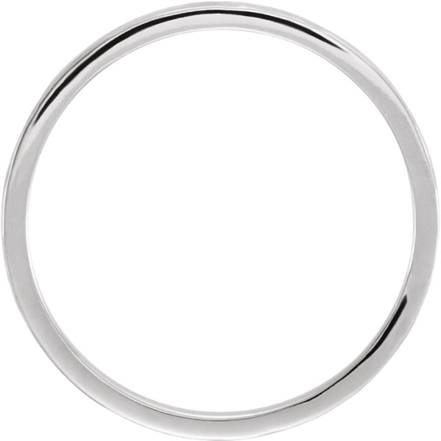 14K White 2mm Flat Band with Hammer Finish  Size 7