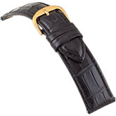 20mm Ladies Regular Alligator Grain Padded Black Watch Strap