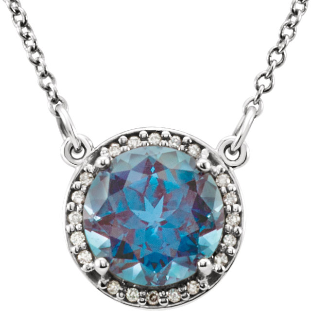 "14kt White Chatham® Created Alexandrite & .05 CTW Diamond 16"" Necklace"