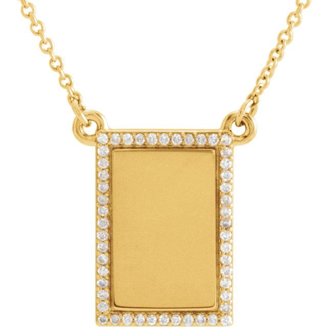14kt Yellow 1/8 CTW Diamond Engravable Necklace