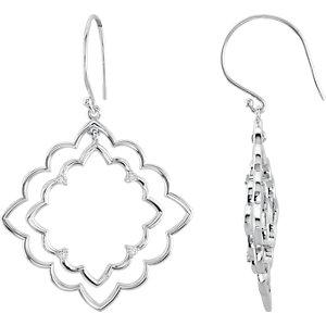 Sterling Silver 1/  ATW Diamond Earrings