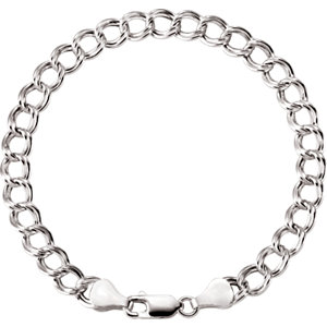 Sterling Silver Hollow Paralleo Charm Bracelet 5.5mm
