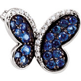 Genuine Blue Sapphire and Diamond Butterfly Brooch