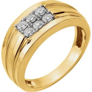 14K Yellow & White 1/2 CTW Diamond Men's Ring
