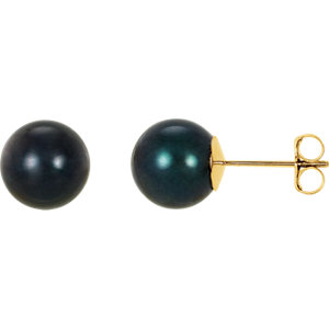 14kt Yellow  mm Black Akoya Aultured Pearl Earrings