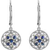 Genuine Blue Sapphire & Diamond Lever Back Earrings