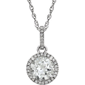 Gemstone & Diamond Halo-Styled Birthstone Necklace