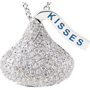 14kt White HERSHEYS KISSES Flat Back 1/  ATW Diamond