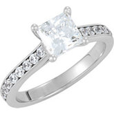 Ring Mounting for Princess Cut Diamond